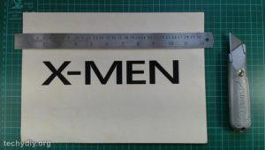 xmen cardboard stencil, knife & ruler