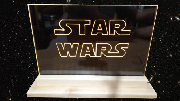 Star Wars Led Edge Light Sign with galaxy background
