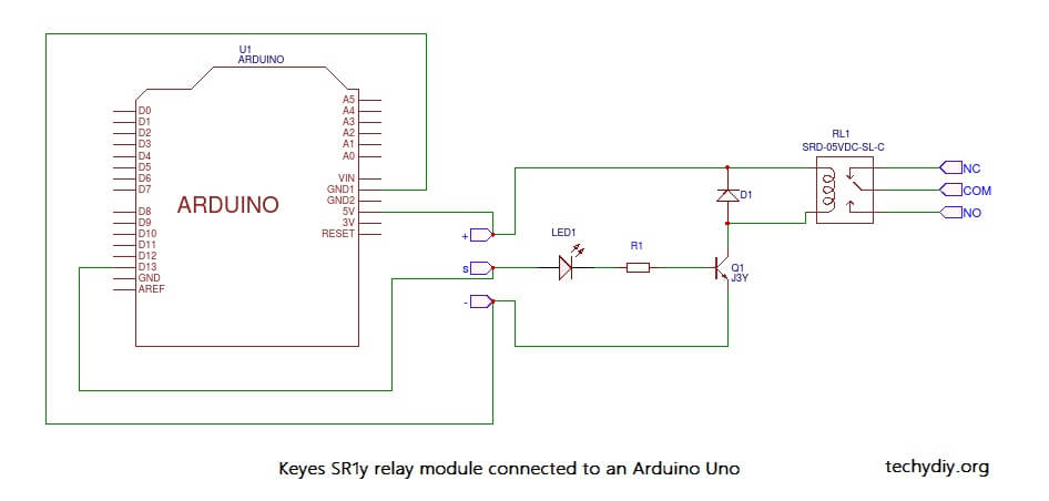 Keyes SR1y relay connection with Arduino Uno