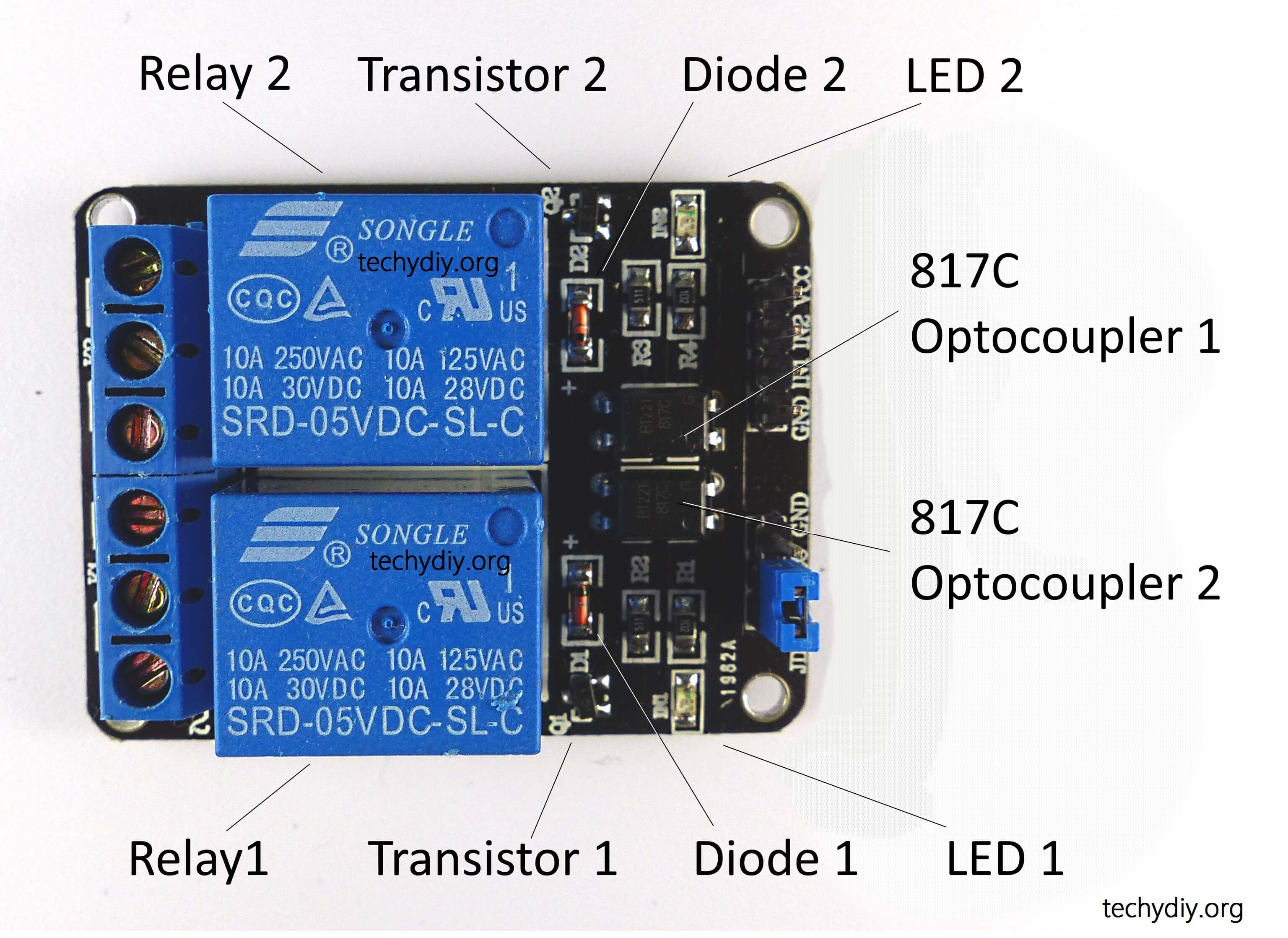 Opto isolated 2 relay module components