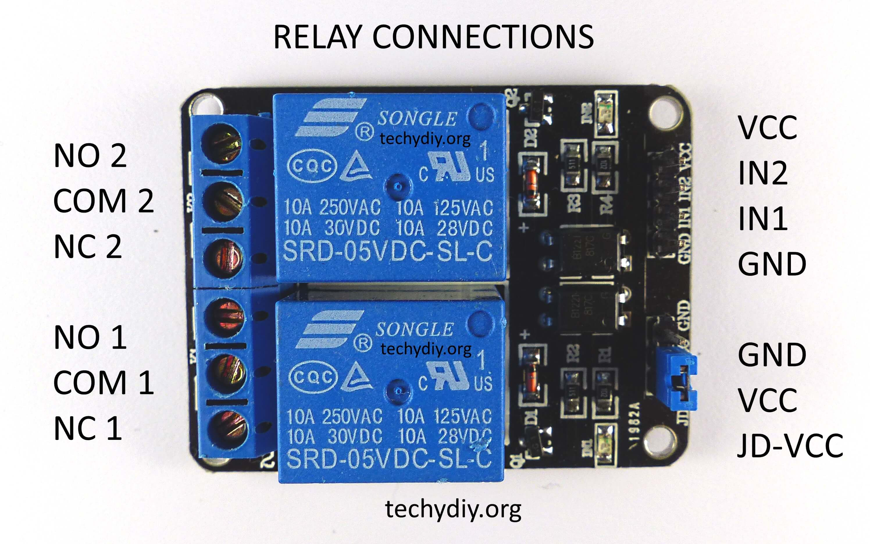 Opto isolated 2 relay module connections