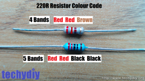 220r resistor 4 and 5 band with labels